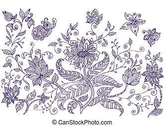 decoratief, wei, bloemen