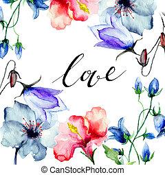 decoratief, wilde bloemen, met, titel, liefde
