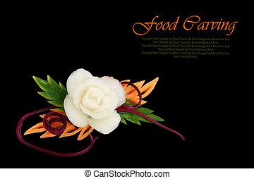 decoratief, witte bloem, gekerfde, van, groente, op, zwarte...