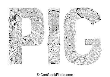 decoratief, woord, coloring., voorwerp, varken, vector, zentangle