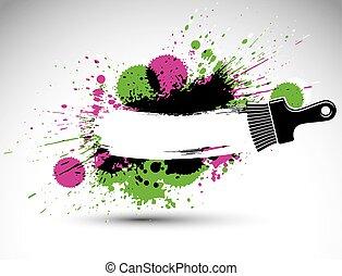 decoratief, zijn, gebruikt, kunst, illustration., kleurrijke, gemaakt, werktuig, vlek, groenteblik, tekening, thema, grafisch, borstel, achtergrond, grunge, design., vernieuwing, brushstrokes., hand-geverfd