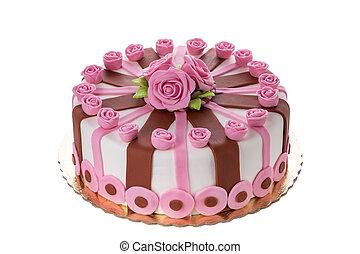 decoratief, zijn, jarig, prachtig, roses., beloved., taart, bloemen