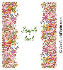 decoratief, zomers, groet, seamless, floral rand, kaart