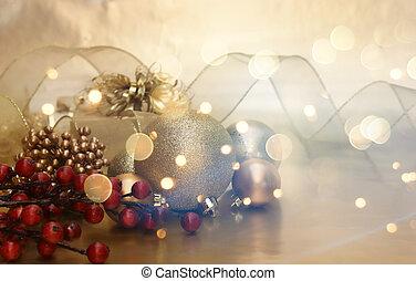 decoraties, retro, achtergrond, kerstmis