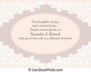 decoraties, uitnodigingskaart, trouwfeest, kant, mooi