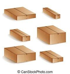 decoratieve doos, set, illustration., iconen, isolated., vrijstaand, aflevering, realistisch, dozen, vector, gesloten, karton, 3d