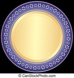 decoratieve plaat, violet-golden