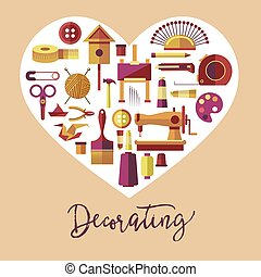 Decorating art and handicraft hobby vector poster