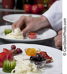 Decorating dishes - Chef decorating appetizer