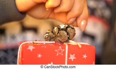 decorating gifts for Christmas and New Year. - decorating...