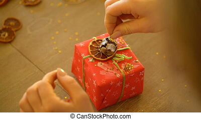 decorating gifts for Christmas and New Year.