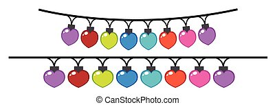 Decorating lights in different colors illustration