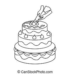 Decorating of birthday cake icon in outline style isolated on white background. Event service symbol stock vector illustration.