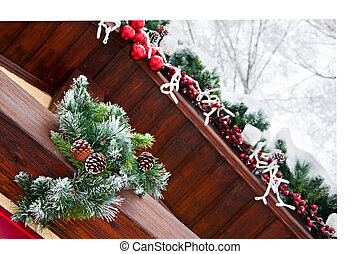 Decorating of roof of the house for the Christmas Holidays
