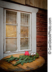 Decorating old window for the Christmas Holidays.