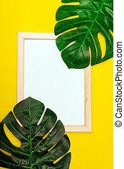 decoration., 頂部, 棕櫚, 白色, 廣場, mockup, 背景, 葉子, 作品, 夏天, 看法, 框架, 黃色