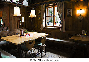 Decoration and interior at inside of restaurant for Swiss and travelers people use service at Samnaun village