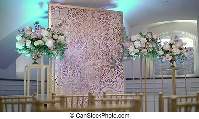 Decoration at wedding ceremony indoors