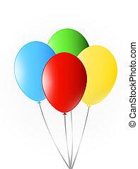 decoration., barwny, partia, ballons, urodziny