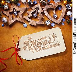 decoration;, boompje, kerstmis, achtergrond