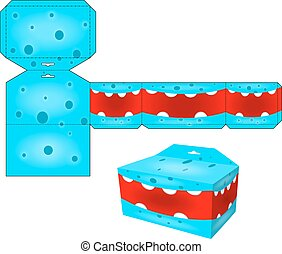 decoration., caixas, modelos, papel, monsters., papercraft, cubo, layout., vector., caixa, jogos, crianças, caricatura, die-cut, dado