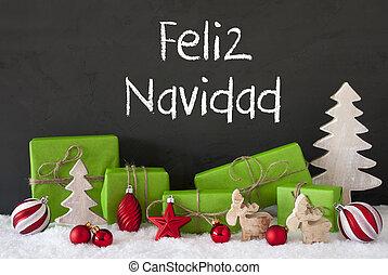 Decoration, Cement, Snow, Feliz Navidad Means Merry Christmas