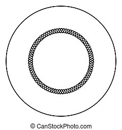 Decoration circle Decorative line Art frame icon in circle round outline black color vector illustration flat style image