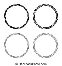 Decoration circle Decorative line Art frame icon outline set black grey color vector illustration flat style image