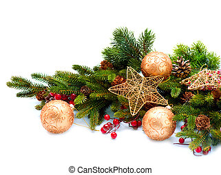 decoration., decorações, isolado, feriado, natal, branca