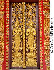 decoration door thai lanna & Temple and door gold. Thai thailand decoration wall frame gate ...