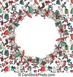 decoration., elements., 花冠, 設計, 傳統, 通告, posters., 聖誕節, 輪, 明信片