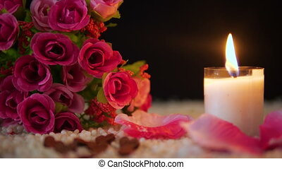 Decoration footage valentine of flower bouquet, candle...