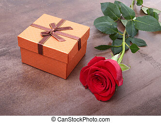 Decoration for Valentines day with Gift boxes and rose on...