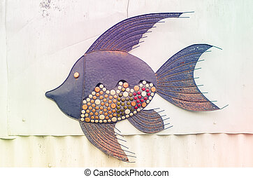 decoration in fish in the wall