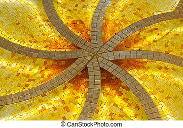 Decoration inside of the Sheikh Zayed Mosque. Abu Dhabi, United Arab Emirates