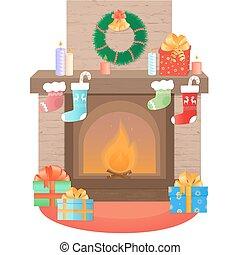 decoration., jaren, kerstmis., nieuw, verfraaide, openhaard