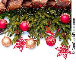 decoration., odizolowany, ozdoby, biały, święto, boże narodzenie