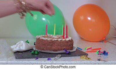 Decoration of chocolate cake
