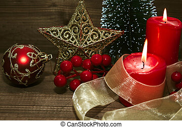 decoration of christmas on wood old