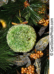 Decoration of Christmas tree. Close-up