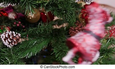 Decoration of Christmas tree gnome toy - Decorated branch of...