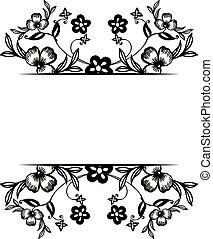 Decoration of greeting card, ornament various flowers and unique frame. Vector