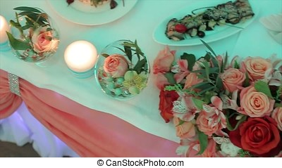 Decoration of wedding table with flowers. wedding flowers on...