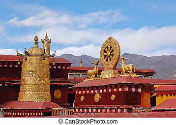 Decoration on roof of Jokhang temple in Lhasa, Tibet