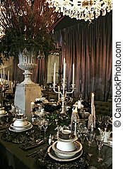 decoration on table with holiday set in gothic style