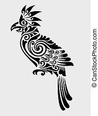 decoration., papegaai, ornament, floral