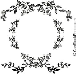 Decoration pattern of card, with background floral frame abstract. Vector