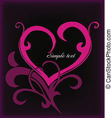 Decoration pink heart. Vector