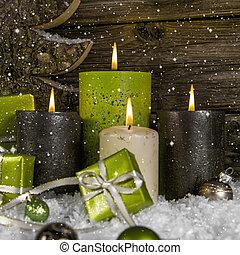 decoration:, quatro, verde, e, marrom, queimadura, advento,...