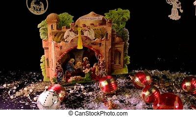 decoration., scène, collection, nativité, arrière-plan., noir, balls., noël